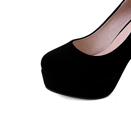 AgooLar Femme Tire Suédé Rond à Talon Haut Couleur Unie Chaussures Légeres Noir