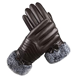 ZXW gloves- Leather Gloves Ladies Plus Velvet Padded Windproof Waterproof Touch Screen Warm Cotton Gloves (Color : Arrow brown)