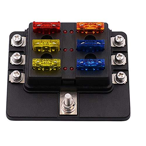 12-32 V Auto Universal Sicherungskasten mit LED-Anzeige Sicherungsblock Einsatz Klinge Schraubklemme Für Auto Boat Van Auto Boot Lkw (6 Way) 16 Output Fuse