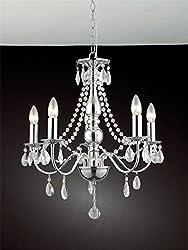 Dst Simple Elegant 5 Llights Hanging Crystal Chrome Ceiling Light Chandelier, Crystal Chandelier for Study Room/Office, Dining Room, Bedroom, Living Room Size D50cm H55cm Chain Length 60cm