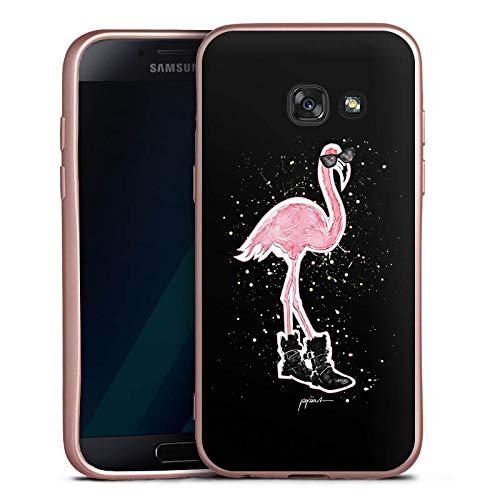 DeinDesign Silikon Hülle Rosé Gold Case Schutzhülle kompatibel mit Samsung Galaxy A3 Duos 2017 Flamingo Sonnenbrille Shoes