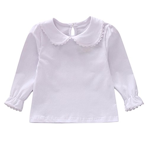 Toddler Baby Girl Long Sleeve Peterpan Collar T-Shirt Blouse Solid Color Basic Tops White 18-24 Months