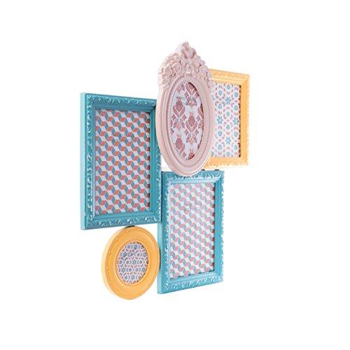 en Collage Bunt Antik Holz Wandrahmen Rahmen Rosa Blau Gelb Landhaus ()