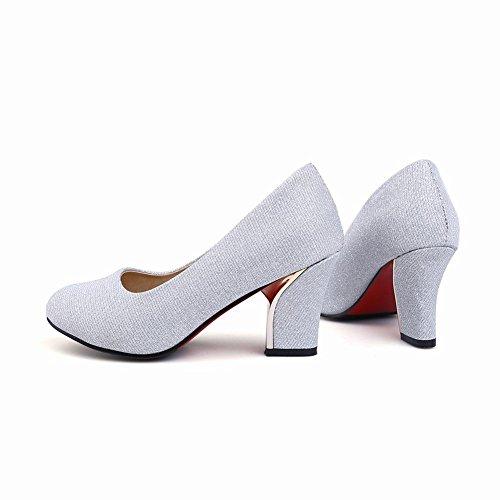 Mee Shoes Damen chunky heels Geschlossen Plateau Pumps Silber