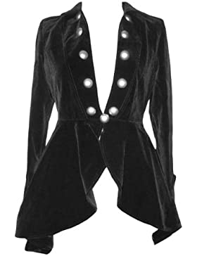 [Patrocinado]Elegante terciopelo gótico o Victoriano Retro Regency Flounce Chaqueta de estilo en tamaños 6–28