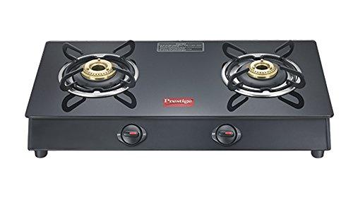 Prestige Marvel Plus Aluminum 2 Burner Gas Stove, Black