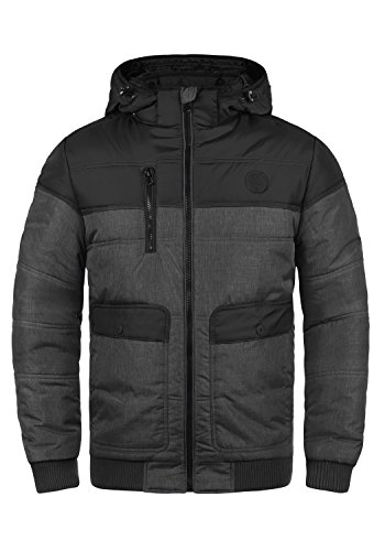 Blend Borinho Herren Winter Jacke Steppjacke Winterjacke gefüttert mit Kapuze und Color-Block-Optik, Größe:XL, Farbe:Black (70155)