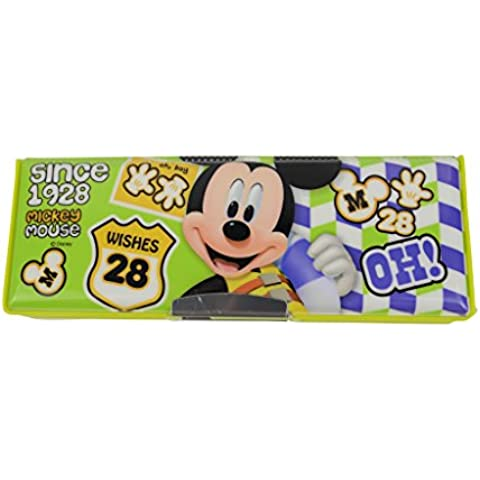 Disney Mickey Minnie de plástico Cajas de lápiz / la caja de lápiz 83005-05 (Verde Amarillo)