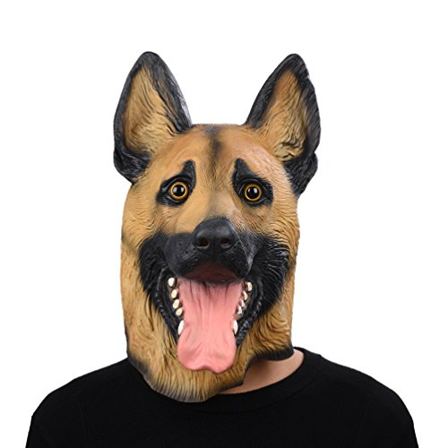 Party Story Halloween Maske latex Hund Deutscher Schäferhund Tiermaske (Maske Hund)