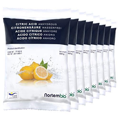 Nortembio Acido Citrico 4 kg (8x500g). Polvere Anidro, 100{3a02d4245ce07b61b2e8a872645df28f19d8fc69c54c64f19f011d9a64cc410f} Puro. per Produzione Biologica. Sviluppato in Italia.