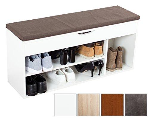 Ricoo armadio scarpe wm034-w-b armadietto scarpiera con scaffale e scompartimenti panca sedile comodo per ingresso ripiano seduta cuscino cassapanca organizer portascarpe salvaspazio/in legno/bianco