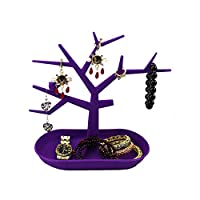 ForeWan Jewelry Display Stand Towers, Dressing Tables Organizer for Necklace Ring Watch Bracelet - Neat Makeup Desktop for Women Girls, Tree Shape (Purple)