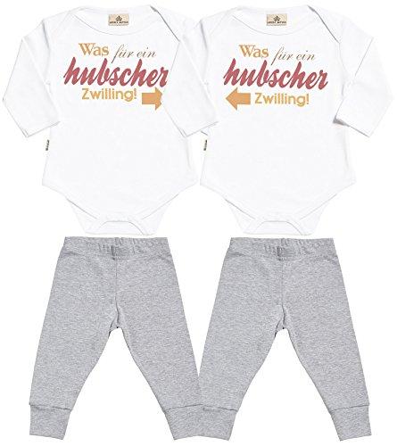 Spoilt Rotten SR - was für EIN hubscher zwilling! Baby Zwillinge Set - Weiß Baby Strampler & Grau Baby Jerseyhose - Baby Zwillinge Body & Baby Zwillinge Hosen Baby Zwillinge Outfit - 0-6 Monate (Ein Was Outfit)