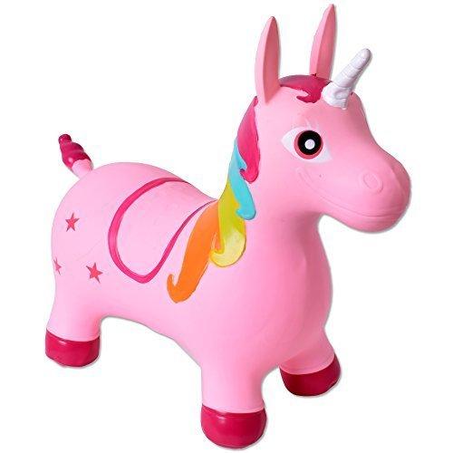 TE-Trend Springpferd Hüpftier Einhorn Unicorn Hüpfpferd bis 50kg belastbar rosa Pumpe SGS geprüfte Qualität