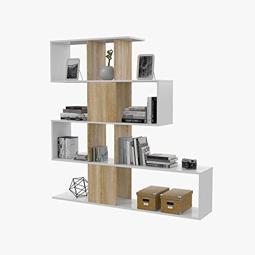 Habitdesign F00530301030_OAK Kafka D11 - Estantería libreria para oficina, comedor o salon, mueble en modelo zig zag acabado en color Blanco Brillo y Roble Canadian, 145 x 145 x 30 cm de fondo