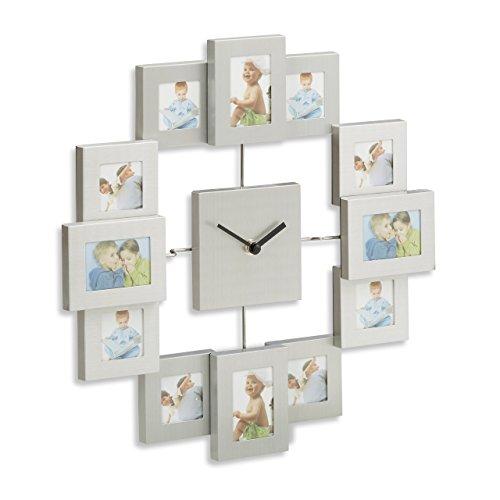Relaxdays Wanduhr mit Bilderrahmen, Fotouhr für eigene Bilder, zum Selbstgestalten, HxBxT: 35 x 35 x 4 cm, silber