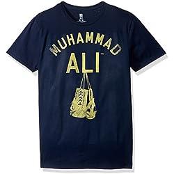 Muhammad Ali Men's Hanging up the Gloves Short Sleeve T-Shirt, Navy, 2XL
