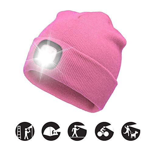 ATNKE LED beleuchtete Mütze, wiederaufladbare USB-Laufmütze mit extrem Heller 4-LED-Lampe und Blinkender Alarmscheinwerfer/Rosa -