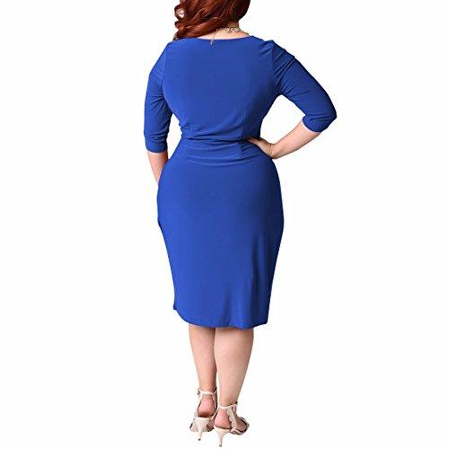 QIYUN.Z Femmes À Encolure En V À La Taille Empire Robe Empire Taille Empire Robe Plus La Taille Bleu