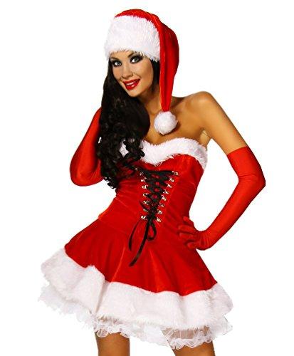 Süsses Weihnachts-Kostüm Christmas XS-M Mini-kleid Santa 4-teilig rot/weiß, (Kleid Santa Mini Kostüme)