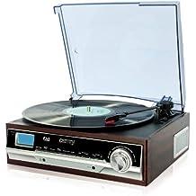 Plattenspieler | Schallplattenspieler | PLL Radio | Retro Holz Nostalgie Musikanlage | AUX IN | Uhr mit Wecker | Sleep Timer | integrierte Lautsprecher | 3 Wiedergabefunktionen 33/45/75