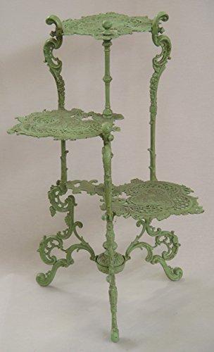 Deko Blumentisch Pflanztisch Garten Tisch 3stufig grün Landhaus Gußeisen H:80cm