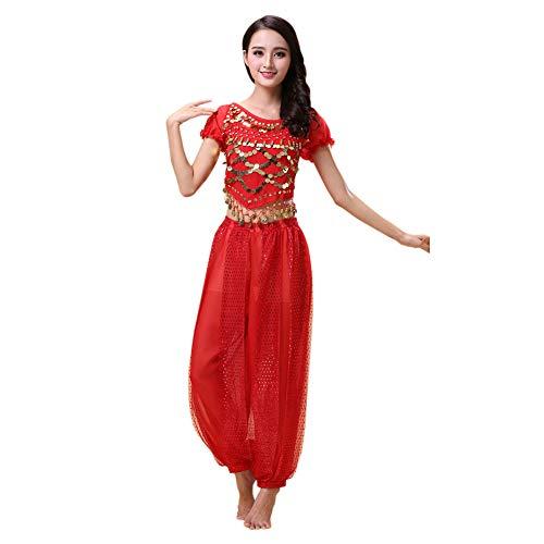 Jasmin Outfit Kostüm Roten - Haodasi Bauchtanz Kostüm für Damen Tanzen Top + Laterne Hosen Professionel Karneval Tänzer Outfit Suit