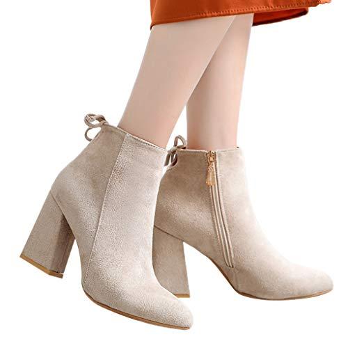 Momoxi Scarpe Invernali da Donna, Moda Donna Evidenziata Scarpe con Piattaforma Tacco Impermeabile Scarpe col Tacco Alto Scarpe Casual Autunno E Inverno novità