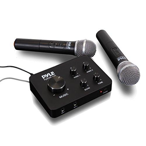 Pyle Portable Home Theater Karaoke Microphone Mixer System Set W/ Dual UHF Wireless Mic, Hdmi & Aux, Audio Play Via Device Speaker - Pdwmkhrd22Wm