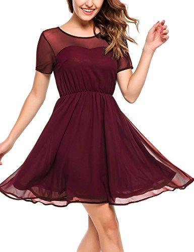 Zeagoo Damen Chiffon Kleid Elegant Sommerkleid Partykleid Festliches Kleid A-Linie Knielang Weinrot...