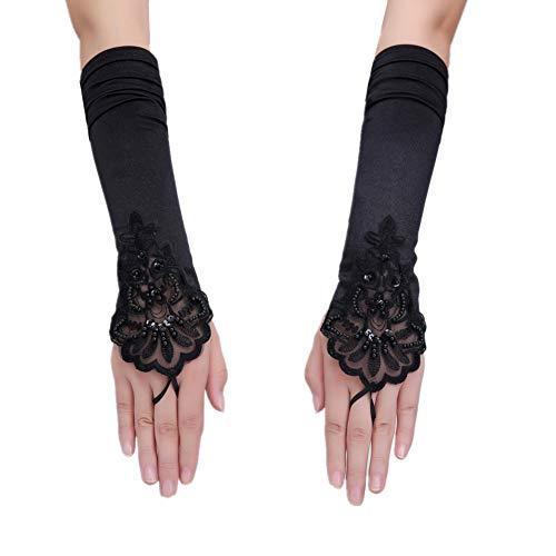 Schwarze Damen Handschuhe, 1920er Stil Handschuhe Zubehör Vintage Lange Fingerlose Satin Handschuhe für Kostümparty Opera (Roaring 20's Kostüm Frauen)