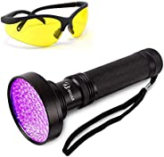 Thigles UV Flashlight Black Light with UV Sunglasses, 100 LED 395nm Ultraviolet Blacklight, Handheld Detector