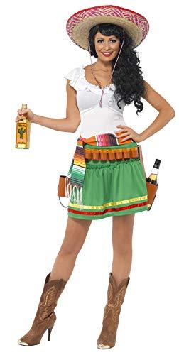 Smiffys, Damen Tequila Shooter Girl Kostüm, Kleid, Gestreifter Gürtel und Gürtel mit Holster, Größe: M, - Tequila Kostüm