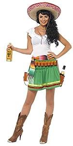 Smiffys-29132S Disfraz de tiradora de Tequila, con Vestido, Rayas y cinturón con Funda de Pistolas, Color Verde, S-EU Tamaño 36-38 (Smiffy