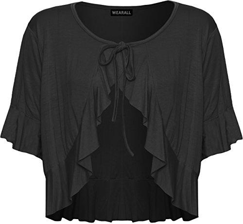 WearAll - Damen Übergröße Rüsche Binden Elastisch Kurzarm V-Ausschnitt Cardigan Top - Schwarz - 40-42 (Ärmel Cardigan Rüschen)