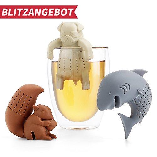 Teesieb/Tee-ei/Teefilter/Teekugeln, Lebensmittel Silikon und BPA frei, FDA-zugelassenen, Eichhörnchen&Haifisch&Mops (3 Stück Set) (Cute Tee-sets)