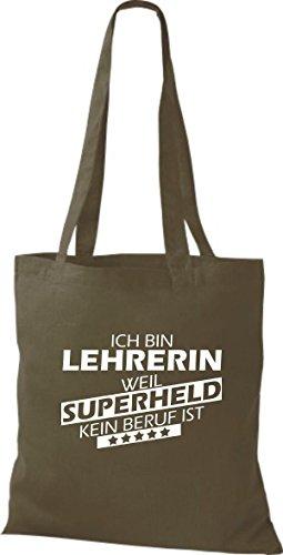 Shirtstown Stoffbeutel Ich bin Lehrerin, weil Superheld kein Beruf ist olive