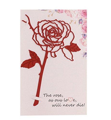 Hi_Smile - Segnalibro a clip in metallo, motivo: rose, cancelleria per studenti, Acciaio INOX, red, 13x9.7cm
