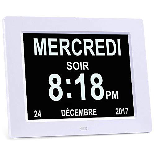 Excelvan DC8001 Horloge Calendrier avec Date Jour et Heure en français 8 Pouces LCD Horloge Numérique Non-Abrégée Auto Dimming pour Senior Alzheimer et Enfant - Blanche