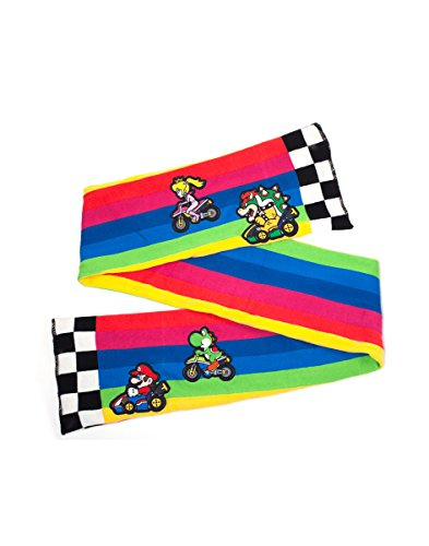 Bioworld EU Nintendo Super Bros. Mario Kart Rainbow Road Knitted Fashion Scarf, Multicolour (Multicolour Multicolour), One Size