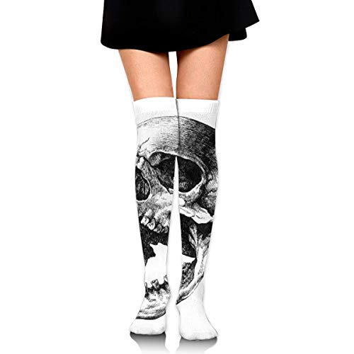 HRTSHRTE Halloween Screaming Skull Black and White Ankle Stockings Over The Knee Sexy Womens Sports Athletic Soccer Socks (Mädchen Screaming Halloween)