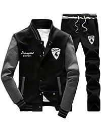 Hombres Chándal 2 Piezas Conjuntos Deportivos Manga Larga Vertical Cuello Sweatshirt + Pantalones