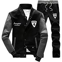 DianShao Hombres Chándal 2 Piezas Conjuntos Deportivos Manga Larga Vertical Cuello Sweatshirt + Pantalones