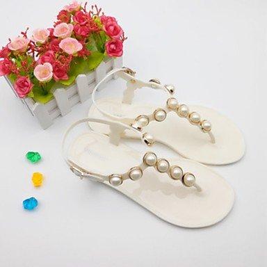 Scarpe Donna WOMEN'S sandali della gelatina di estate Scarpe casual Pvc Tallone piano imitazione Pearl Almond Nero Bianco US5.5 / EU36 / UK3.5 / CN35