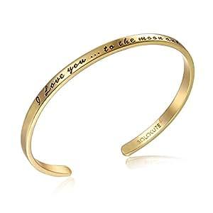 solocute gold damen armband mit gravur i love you to the. Black Bedroom Furniture Sets. Home Design Ideas