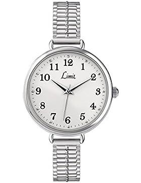 Limit Armbanduhr 6003, Edelstahl, weißes Zifferblatt, Expanderarmband