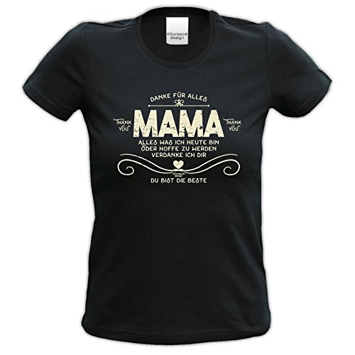 Geburtstagsgeschenk, Geschenkidee, bequemes T-Shirt für Frauen Danke Mama ideales Geschenk zum Muttertag Farbe: schwarz Schwarz