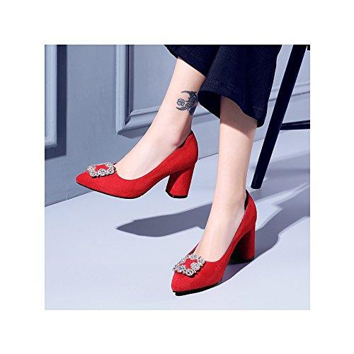 OCHENTA Femme Escarpins Talon Bloc Hauteur 7.5CM Suedine Elegant Travail Mariage Rouge