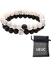 UEUC Bracelets de Distance Couple Amants-2pcs Agate Matte Noir & Perles Blanches Howlite 8mm