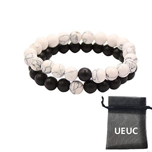Bracciali distanza coppia per gli amanti-2pcs alone nero agata & white howlite beads 8mm by ueuc (nero matte agata)